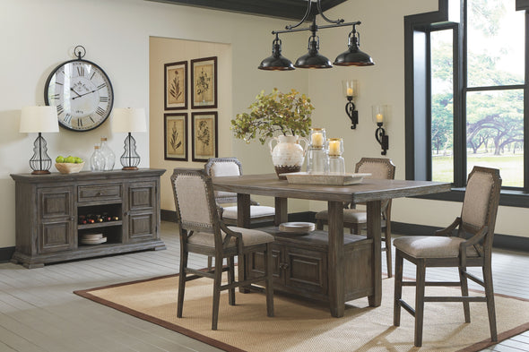 Wyndahl - Rustic Brown - 6 Pc. - RECT Counter Table with Storage, 4 UPH Barstools & Server