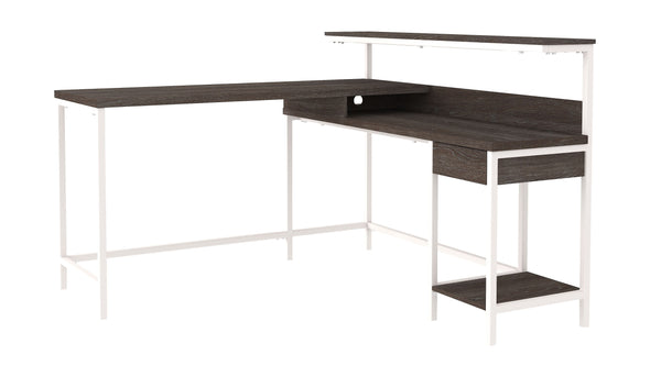 Dorrinson - Two-tone - L-Desk with Storage