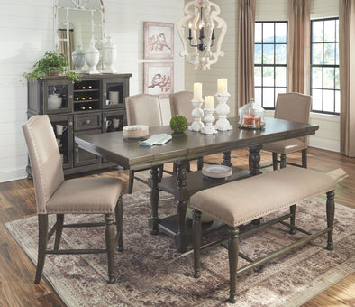 Audberry - Dark Gray - 7 Pc. - RECT DRM Counter EXT Table, 4 UPH Barstools, Double Bench & Server