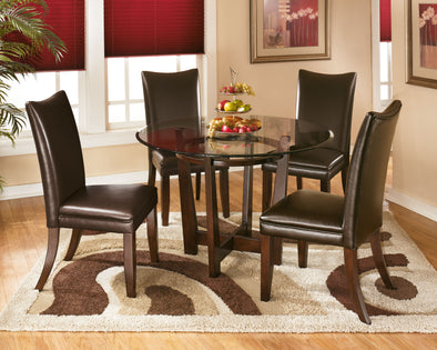 Charrell - Medium Brown - 5 Pc. - Round DRM Table & 4 UPH Side Chairs