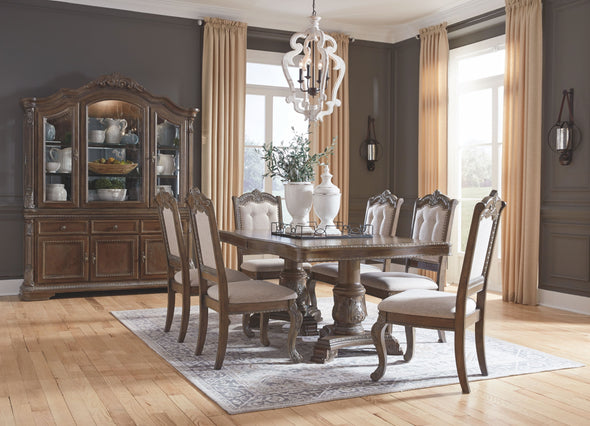 Charmond - Brown - 10 Pc. - RECT DRM Extension Table, 6 UPH Side Chairs, DRM Buffet & China