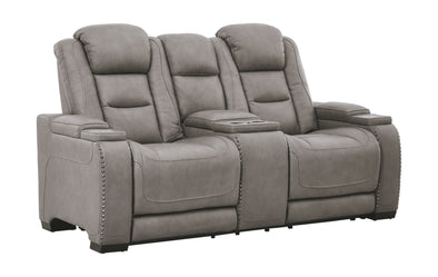 The Man-Den - Gray - PWR REC Loveseat/CON/ADJ HDRST