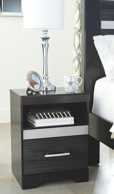 Starberry - Black - One Drawer Night Stand