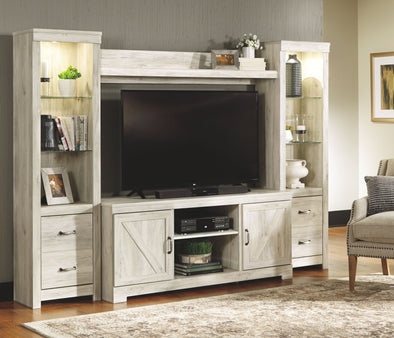 Bellaby - Whitewash - Entertainment Center - LG TV Stand, 2 Piers & Bridge