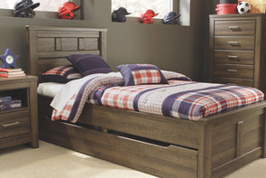 Juararo - Dark Brown -  Panel Bed with Trundle Under Bed Storage