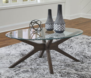 Zannory - Grayish Brown - Oval Cocktail Table