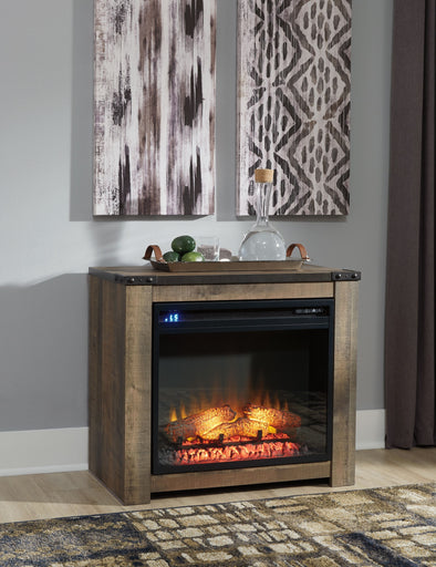 Trinell - Brown - Fireplace Mantel w/FRPL Insert