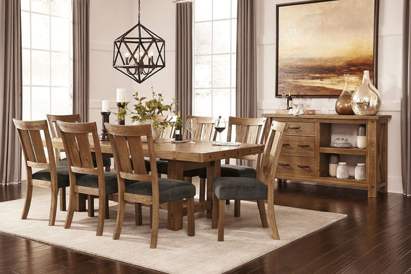 Tamilo - Gray/Brown - 9 Pc. - RECT DRM EXT Table & 8 UPH Side Chairs