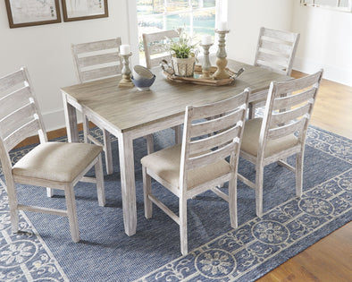 Skempton - White/Light Brown - Dining Room Table Set (7/CN)