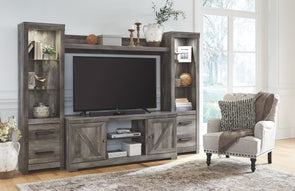 Wynnlow - Gray - Entertainment Center - LG TV Stand, 2 Piers & Bridge