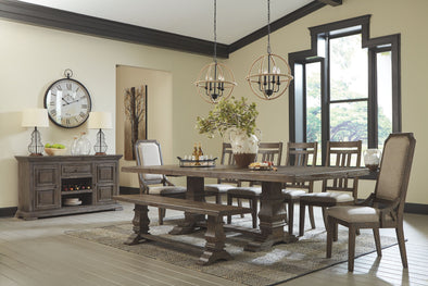 Wyndahl - Rustic Brown - 10 Pc. - RECT DRM EXT Table, 4 UPH Side Chairs, 2 UPH Side Chairs, DRM Bench & Server