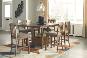 Flaybern Counter Dining Room 7 Pc. Set: Rectangular Counter Table with Leaf and 6 UPH Side Chairs