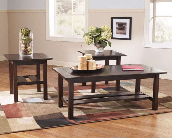 Lewis - Medium Brown - Occasional Table Set (3/CN)