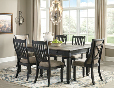 Tyler Creek - Black/Gray - 7 Pc. - RECT DRM Table, 4 UPH Side Chairs & 2 DRM UPH Side Chairs