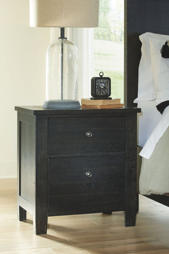 Noorbrook - Black - Two Drawer Night Stand