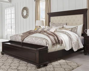 Brynhurst - Dark Brown -  Upholstered Bed with Storage