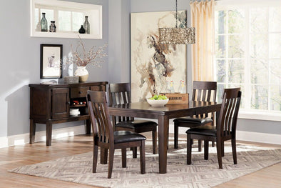 Haddigan - Dark Brown - 5 Pc. - RECT DRM EXT Table & 4 UPH Side Chairs
