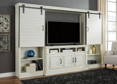 Blinton - White - Entertainment Center - TV Stand, 2 Piers, Bridge with Sliding Doors