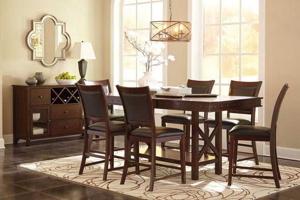 Collenburg - Dark Brown - 7 Pc. - RECT DRM Counter EXT Table & 6 UPH Barstools