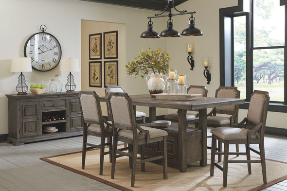 Wyndahl - Rustic Brown - 8 Pc. - RECT Counter Table with Storage, 6 UPH Barstools & Server
