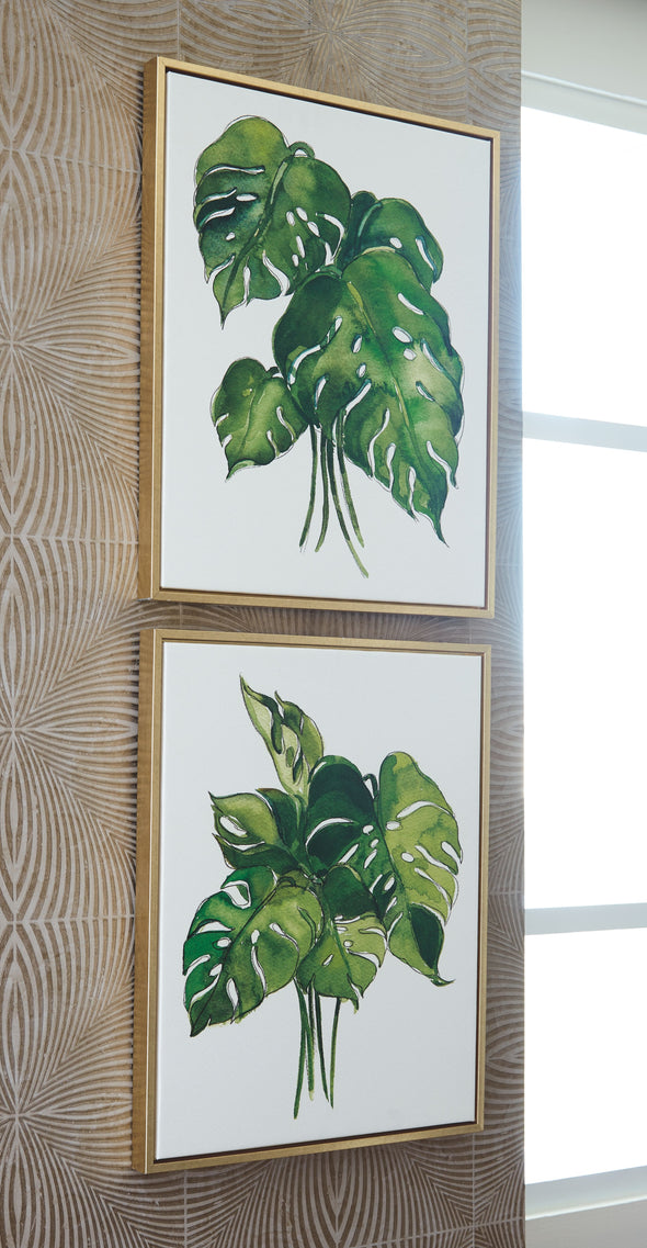 Jakayla - Green/White - Wall Art Set (2/CN)