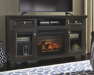 Townser - Grayish Brown - LG TV Stand with Fireplace Insert Infrared