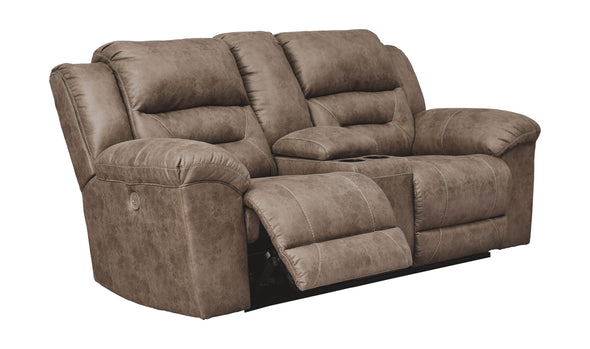 Stoneland - Fossil - DBL REC PWR Loveseat w/Console