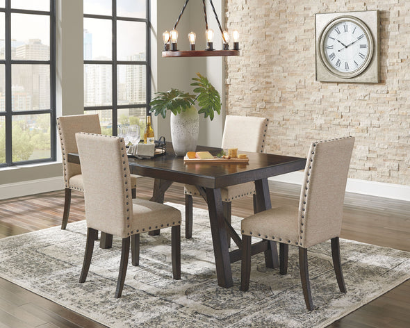 Rokane - Brown - 5 Pc. - RECT DRM EXT Table & 4 UPH Side Chairs