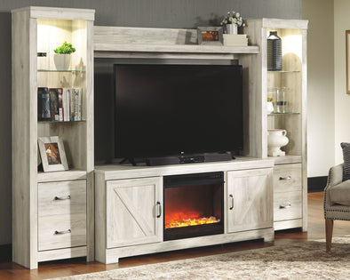 Bellaby - Whitewash - Entertainment Center - LG TV Stand, 2 Piers, Bridge with Fireplace Insert Glass/Stone