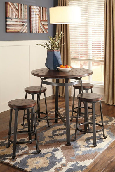 Challiman - Rustic Brown - 5 Pc. - DRM Counter Table & 4 Stools