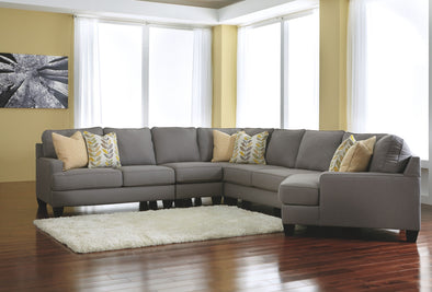 Chamberly - Alloy - LAF Loveseat, Armless Chair, Wedge, Armless Loveseat & RAF Cuddler Sectional
