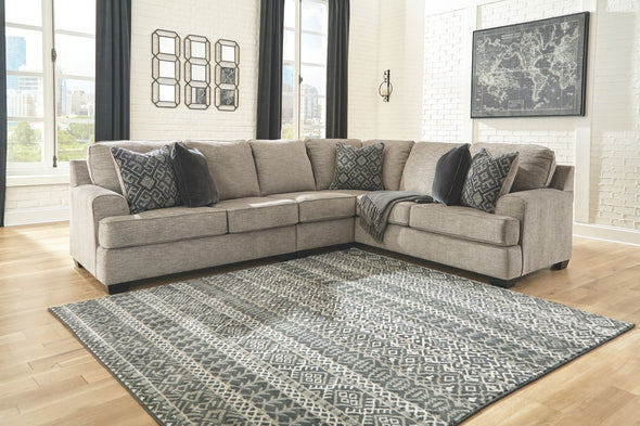 Bovarian - Stone - LAF Loveseat, Armless Chair & RAF Sofa with Corner Wedge Sectional