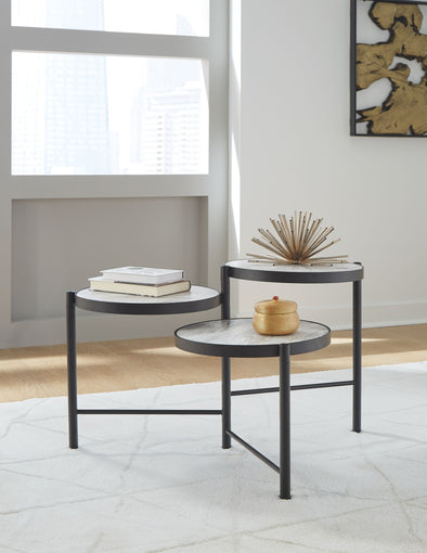 Plannore - Black/White - Round Cocktail Table