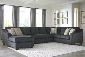 Eltmann - Slate - LAF Corner Chaise, Armless Chair, Armless Loveseat & RAF Sofa with Corner Wedge Sectional