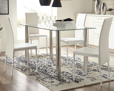 Sariden - Chrome Finish - 5 Pc. - RECT DRM Table & 4 Side Chairs