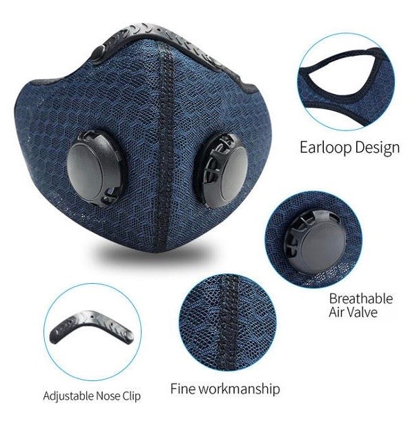 Sports Cycling Mask with Replaceable Activated Carbon Filter