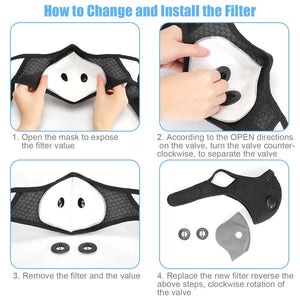 Dual Pack Sports Cycling Mask with 10x Replaceable Activated Carbon Filter