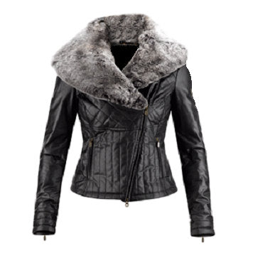 Ladies Washed 100% Soft Lamb Leather Faux Fur Collar Quilted Jacket