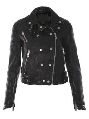 Ladies Washed 100% Soft Lamb Leather Biker Jacket