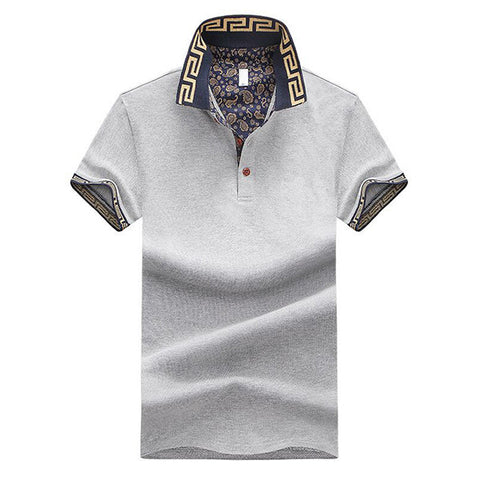 Men's Summer Short Sleeve Cotton T-shirt Casual Printed Collar Polo T-shirt