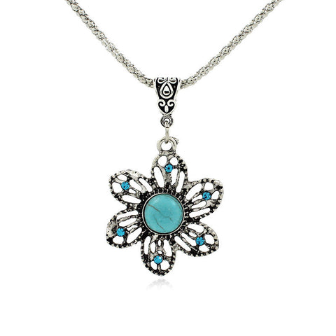 2015 Latest Popular Best-selling Romantic Retro Bohemian Fine Sunflowers Turquoise Necklace Pendant FA1083-Visiocology
