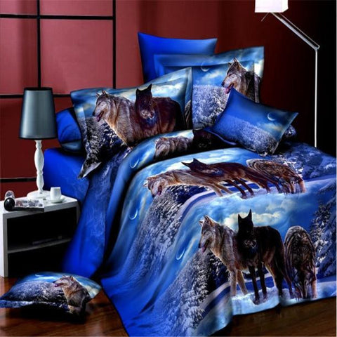 Visiocology : 4PC Grassland Tiger 3D Animal Print Duvet Cover Full Duvet Cover and Pillowcase Set for Bedroom Bedding