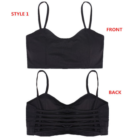 4 Styles Sexy Stretch Padded Bra Bandeau Hollow Out Crop Tops Cut Out Sport Vest-Visiocology