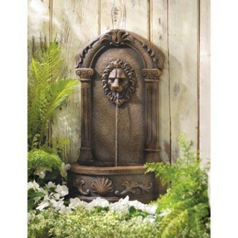 Visiocology : Cascading Fountains Lion`s Head Courtyard Portable Outdoor Water Fountain