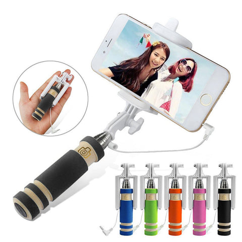 Visiocology : Centechia Foldable Mini Wired Selfie Stick Handheld Extendable Monopod Non-slip Handle for iPhone 6/6S plus/Samsung CX88