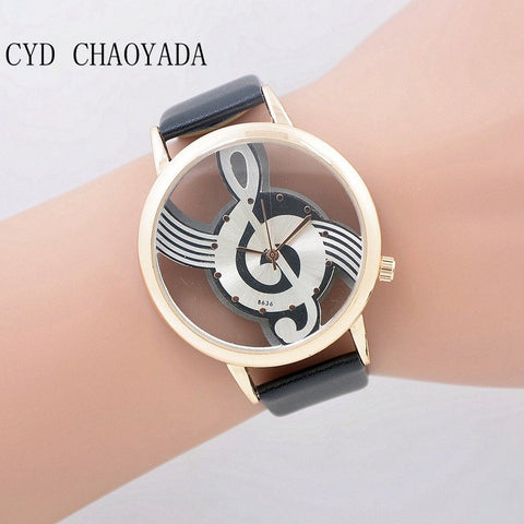 Visiocology : Unique Watches Woman Quartz Analog Hollow Musical Note Style Leather WristWatch Casual Watch Relogio Feminino