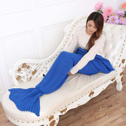 "Knitted Mermaid Tail Blanket Handmade Crochet Adult Throw Bed Wrap Sleeping Bag 76.8*35.4""tail"