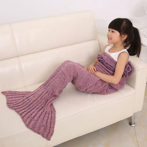 Knitted Mermaid Tail Blanket Handmade Crochet Kids Throw Bed Wrap Sleeping Bag - Visiocology
