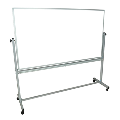 "Visiocology : Luxor MB7240WW Magnetic 72"" W x 40"" H Double Sided Dry Erase Whiteboard Easel With Chrome Finish Silver Frame"