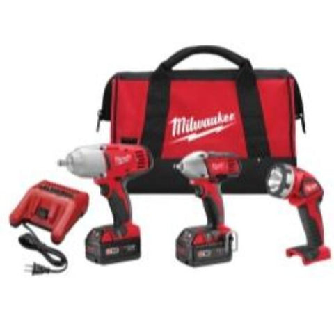 Visiocology : Milwaukee M18 Electric 2696-23 Tools 3pcs Kit Cordless Power Impact Wrench Tool Flashlight